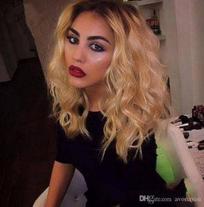 SEX Ombre Wigs Short Bob Curly Wavy Lace Front Wigs Heat Resistant Synthetic Lace Front Wigs for Black Women FZP86