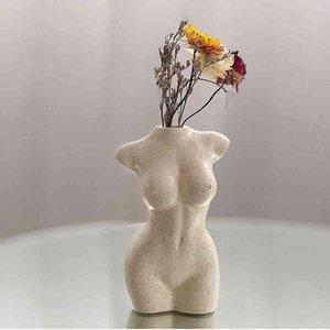 Körperkunst design blume vase nackte weibliche skulptur blume vase kreative hobby vase pflanzmaschine hauszubehör ornamental