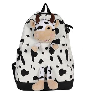 2021 New Women Men Cow Print Backpack Students Schoolbag Large Daypack Rucksuak Lovely For Kids A0517