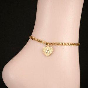 Vintage Gold A-Z Buchstaben Fußkettchen für Frauen Edelstahl Alphabet Bein Armbänder Herz Charm Knöchel Armband Bestes Geschenk für Freund 792 Q2
