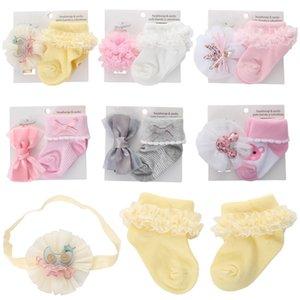 Calcetines Baby Girls Flor Headbands 2 unids Conjuntos de algodón de encaje Princesa para niños para niños pequeños accesorios 0-1T B4120 787 Y2