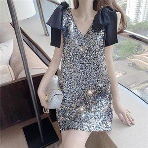suspender French sleeveless dress spring and summer already en New V-neck waist Korean short skirt children's fashion 5BQL