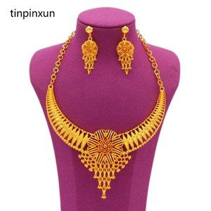 Top Quality Dubai 24K Gold Color Jewelry Sets For Women Bridal Luxury Necklace Earring Set African Wedding Gifts Earrings &