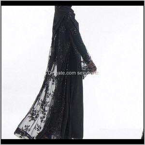Ethnic Clothing Apparel Drop Delivery 2021 Luxury Sequins Dubai Muslim Women Abayas(No Hijab No Inside Dress) Lace Cardigan Maxi Dress Kimono