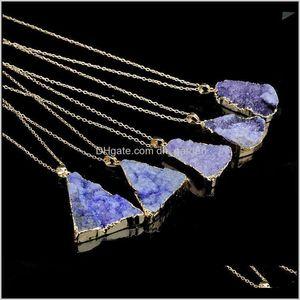 Pendants Drop Delivery 2021 Natural Crystal Quartz Healing Point Chakra Bead Gemstone Necklace Original Stone Pendant Necklaces Fashion Jewel