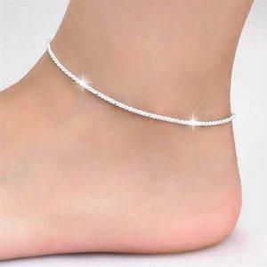 Dünn gestempelt Silber überzogene glänzende Ketten Fußkettchen für Frauen Mädchen Freund Foot Schmuck Bein Armband barfuß Tobilera de Prata