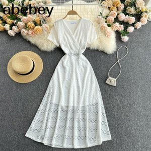 Women Elegant French Puff Sleeve V Neck Solid Office Dresses Summer Casual Fashion Streetwear A-line Dress 210415