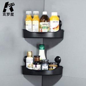 Klx جديد الحمام استنزاف الركن الجرف فراغ قوي الالتصاق المطبخ مطبخ لكمة مجانية لا تتبع التوابل الرف التخزين المنزلية المنظم 210331