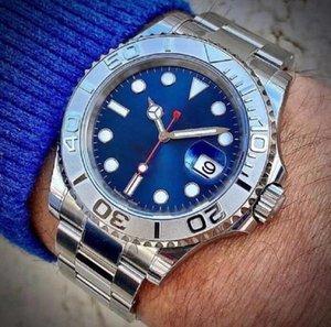 Мужские часы стиль яхты 40 мм серебряный циферблат мастер автоматический механический сапфировый стекло классическая модель складной пряжки застежка на наручные часы