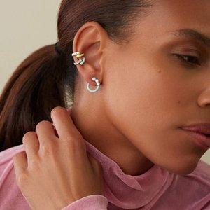 Stud Geometric Classic Fashion Women Jewelry Colorful Pastel Enamel Round Circle Earring