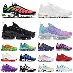 2021 Новое Прибытие TN Plus Размер 12 Бегущая спортивная обувь TNS Enfant Triple Black Все белые средние Зеленые мужские Женские Наружные кроссовки