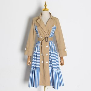 [EWQ] Patchwork Windbreaker Women Lapel Long Sleeve Lace Up Striped Hit Color Chic Ladies Trench Coat Female 2021 Spring Clothes Women's Coa