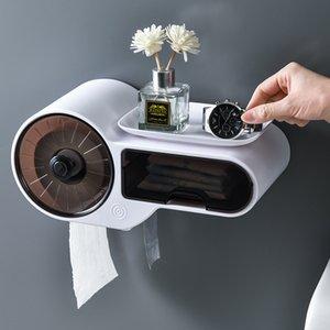 towel box toilet plastic roll holder tube creative non perforated household bathroom water retaining Paper tNEFM