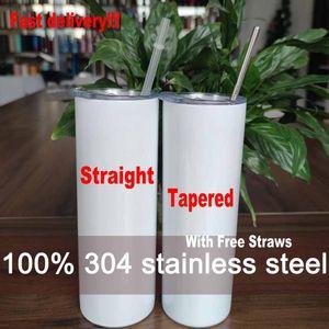 20 oz tazas cónicas y rectas tazas de tazas de cilindro en blanco de acero inoxidable de 20 onzas de acero inoxidable