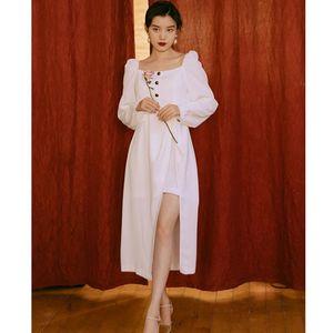 Casual Dresses Square Neck Elegant Thin Ladies Puff Sleeve White Dress Autumn French Retro Irregular Design High Split Sexy Party Vestido