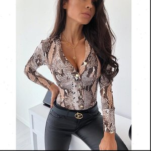 Fashion Womens Women Blouses Deep V Neck Bodysuit Leotard Top Shirts Long Sleeve Blouse Tops Leopard Snake Print Slim Party