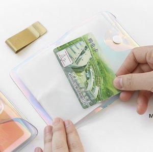 Tarjeta de crédito Transparente Láser PVC Titular de la tarjeta de crédito Mujeres Organizador Moda Moda Borrar pasaporte Tarjetas Bolsas de almacenamiento DHF6131
