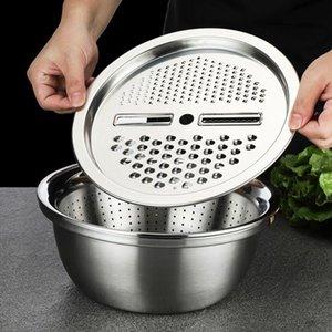 3 in 1 Sebze Dilimleme Kesici Tahliye Sepeti Mutfak Araçları Paslanmaz Çelik Sebze Julienne Grater Salatası Makinesi Kase OOD6286