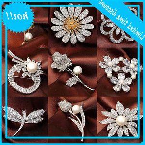 Korean high grade suit dress cardigan pin silk scarf button women's new fashion micro inlaid zircon Brooch accessories