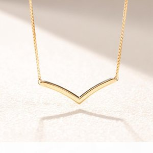 18K Yellow gold plated Polished Wishbone Necklace Women Gift Jewelry for Pandora 925 Sterling Silver Gold Chain Necklaces with Original Box