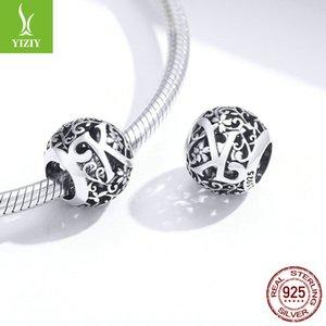 Bamoer 925 Sterling Silver Letter Retro Charms Alphabet Alphabet Rond Beads Fit pour Bracelet de charme SCC1444 1078 T2