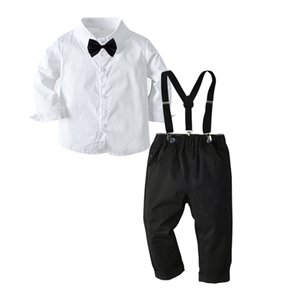 2021 New Baby Clothes Childrens Suits 2Pcs Set Kids Baby Boys Business Suit Shirt+ Pants Set For Boys For Formal Party 1-8 Age