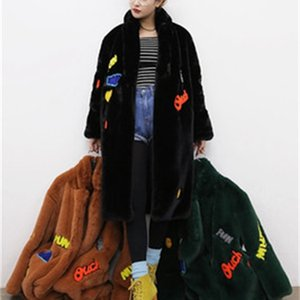 Vintage Furry Faux Fur Coat Women Patch Fluffy Warm Female Outerwear Autumn Winter Plush Overcoat Pocket Casual Teddy Outwear