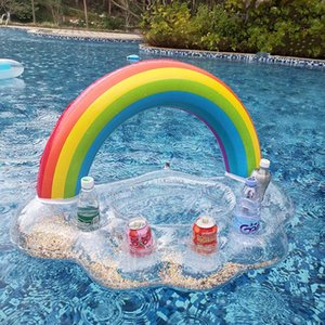 Life Vest & Buoy Rainbow Holes Drink Float Holder Folding Inflatable Beer Pong Table Floating Row Air Mattress Raft Pool Party Toy Hammock C