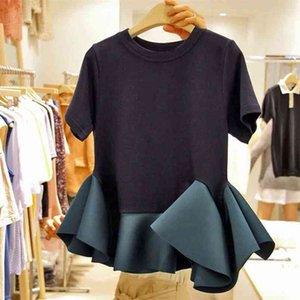 Black Stitching Ruffled Short-Sleeved T-Shirt Women's Summer Dress New Korean Office Lady Student Chic Tees GD007 210330