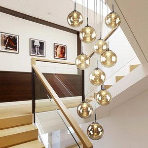 Chandeliers Nordic Glass Ball Pendant Lights For Staircase Black Lamp Spiral G4 Stair Led Lustre El Stairwell Lamparas