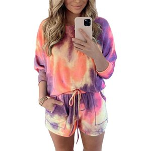 Women´s Tracksuits Ladies Tie-dyed Long Sleeve T Shirt Shorts Outfits Active Gym Loungewear Casual 2 Pieces Set Women Two Piece Dress