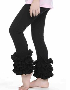 Fashion Kids tiered ruffle leggings Girl Flared Pant Button Trousers Children Falbala pants A6332