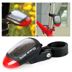 Bike Lights Durable 2 LED Bicycle Solar Charge Tail Light Flash Mountain Warning Headlight