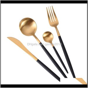 Sets 4Pcs Set 304 Stainless Steel Western Cutlery Set Noble Fork Knife Spoons Dinnerware Kitchen Tableware Black Gold Wb2380 Kszfa Ctsyr