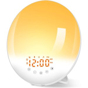 Alarm Clock Radio with Light Bedside Lamp 30 Brightness Levels Dawn and Dusk Simulator, Wake Up Snooze Function, 8 Natural Sounds