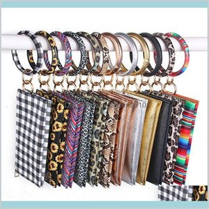 Storage Bags Home & Organization Housekeeping Home Garden Leopard Print Pu Leather Tassel Bracelet Double Layer Womens Keychain Card M