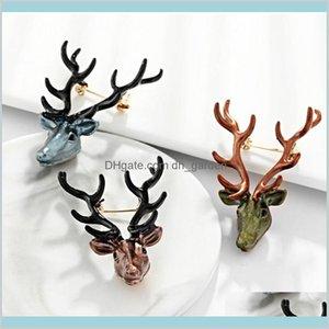 Retro Animal Elk Spilla di Natale Renna Vestito Vestito Sciarpa Fibbia Corda per Le Donne Uomini Gioielli di moda gioielli e regalo sabbioso H6C1D Pins U7GBD