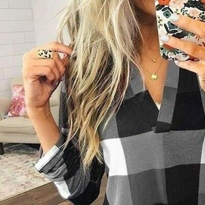 Womens Shirts Autumn Fashion Women Plaid Long Sleeve Casual Loose Shirt Button Stand Collar Top Blouse Clothes
