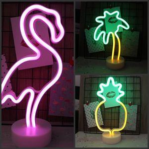 Ночные огни Фламинго / кактус Ананас светодиодный неоновый световой база аккумуляторной батареи USB Powered Настольная лампа лампы отпуска детская декорация