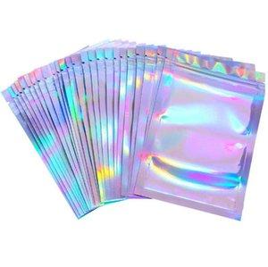 100 Parça Sıfırlanabilir Koku Geçirmez Çanta Folyo Kılıfı Çanta Düz Lazer Renk Paketleme Parti Favor Yiyecek Depolama Holografik Renkler Y0265