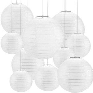 30 Pcs 4-12inch White Paper Lanterns Chinese Lanterne Paper Lampion Wedding Babyshower Party Halloween Hanging Diy Decor Favor OWD6082