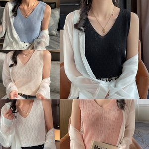 Vest Women's Base Buy Spring Summer New Solid Color with Sling Inside and V-neck Outside to Show the Trend of Thin Knitted Sleeveless KF39