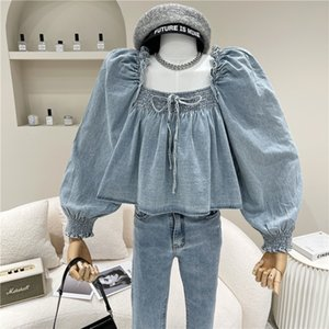 blouses shirt Spring Nicho Summer 2021 women From the Shape Project Neck Lace Up Denim Top Bubble Design Short Belt