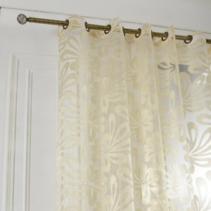 Curtain & Drapes 3 Colors Sheer Curtains Tulle Jacquard For Living Room Bedroom Panels Kitchen Custom Made Home Decoration