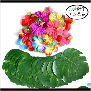 Decoration Event Festive Supplies Home & Garden Drop Delivery 2021 Artificial Tropical Palm And Silk Hibiscus Flowers Decor Monstera Leaves H