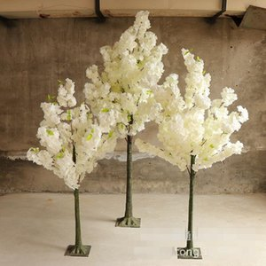 White Simulation Cherry Blossom Tree Roman Column Road Leads Sakura Branch Artificial Flower For Wedding Mall Opened Props Decorative Flower