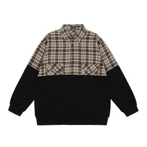 Color Contrast Plaid Half Cardigan Sweater Men's Fashion Brand Bf Yuansufeng Matching Lapel Long Sleeve Pullover