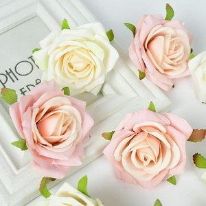 Flores decorativas grinaldas 5 / 10pcs seda rosa flor cabeça para decoração de festa de ervas daninhas DIY grinalda scprapbook suprimentos home artificial