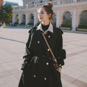 Women's Trench Coats Windbreaker 2021 Autumn Black Metal Buckle Coat Korean Style Fashion Lady Long Temperament All-match Overcoat