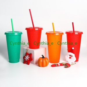 24OZ 710ml Sequins Plastic Tumbler Reusable Clear Drinking Flat Bottom Cup Pillar Shape Lid Straw Mug Bardian L2